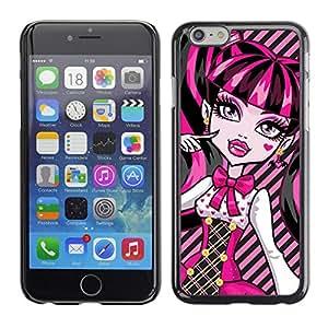 Qstar Arte & diseño plástico duro Fundas Cover Cubre Hard Case Cover para Apple iPhone 6(4.7 inches) ( Pink Neon Schoolgirl Doll Face Big Eyes)