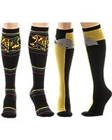 Harry Potter Knee High Socks Gift Set of 2: Hogwarts Stripes and Hufflepuff Knee High