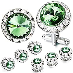 Mulit-Colors Crystal Cuff Links and Studs