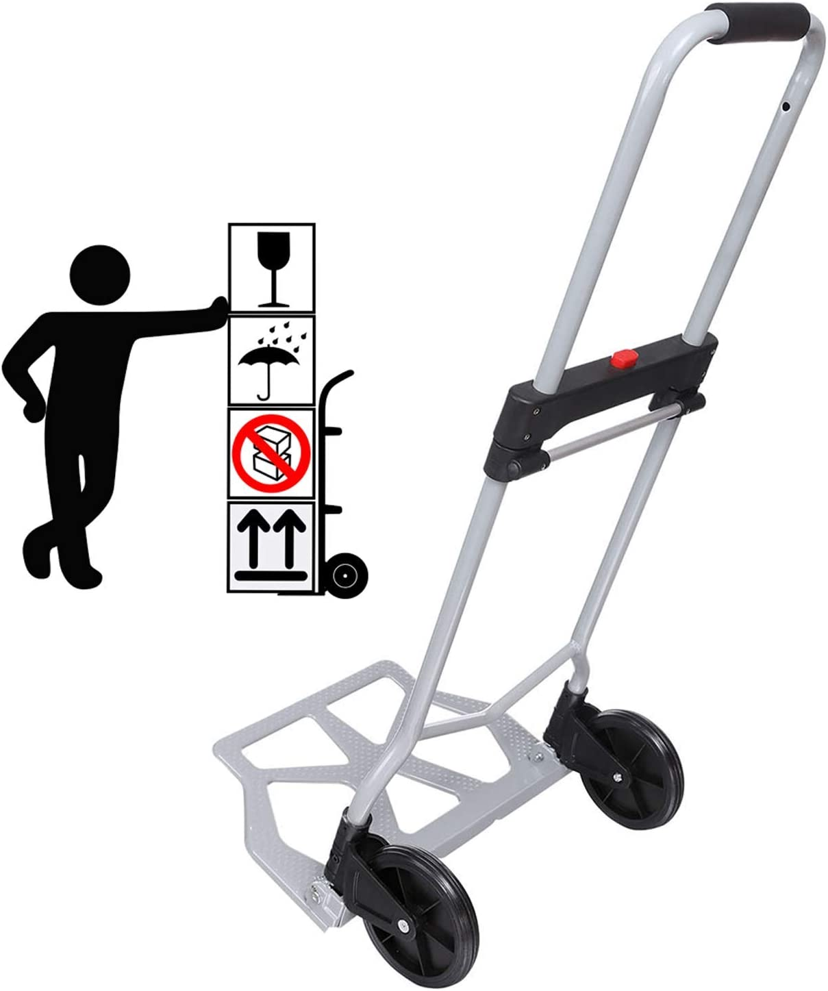 220lb Heavy Duty Folding Hand Truck Dolly, Assisted Hand Truck Luggage Cart with 2 Wheels-Black