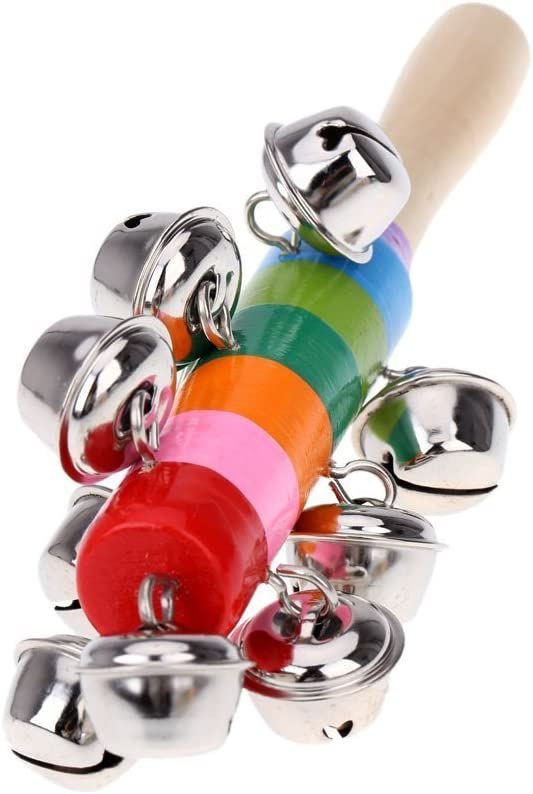 Andoer Sleigh Bells Stick Wooden Hand Held with 25 Metal Jingles Ball Percussion Musical Toy for KTV Party Kids Game