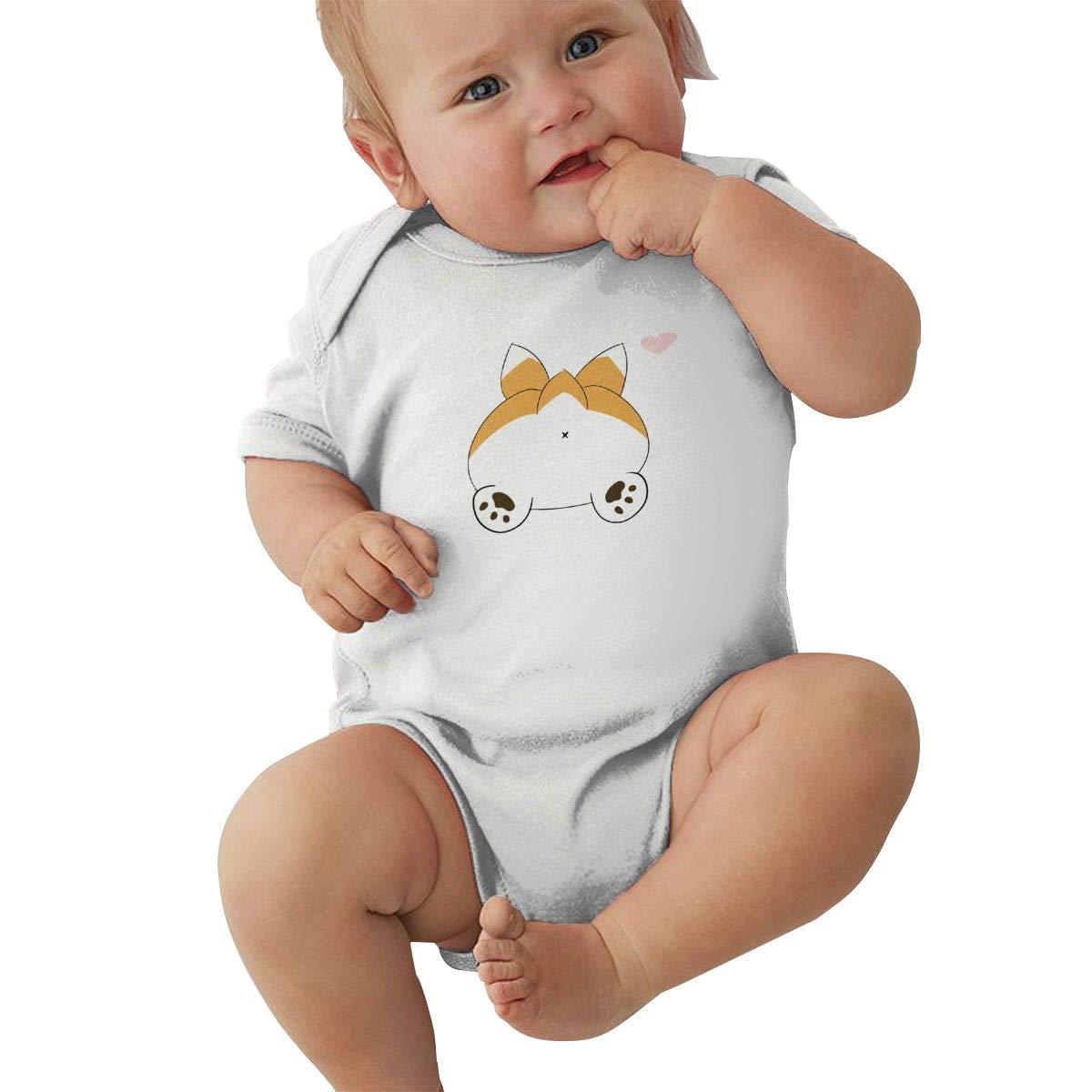 Corgi Butt Plain Hip Hop Newborn Baby Short Sleeve Bodysuit Romper Infant Summer Clothing Black