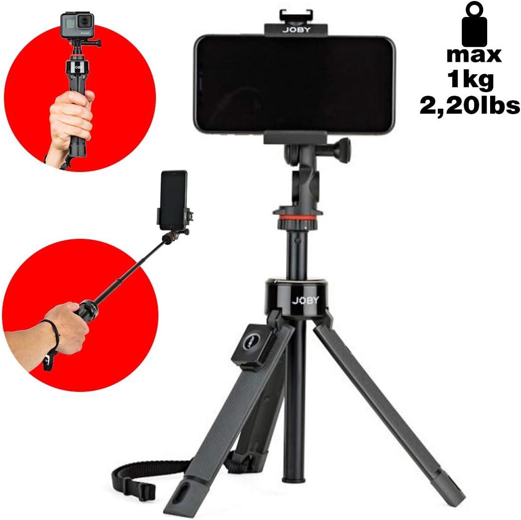 JOBY GripTight Pro Telepod, Trípode/Monopod/Palo Selfie con rótula, Soporte de Smartphone y cámara de acción, Control Remoto Bluetooth, JB01534-BWW -