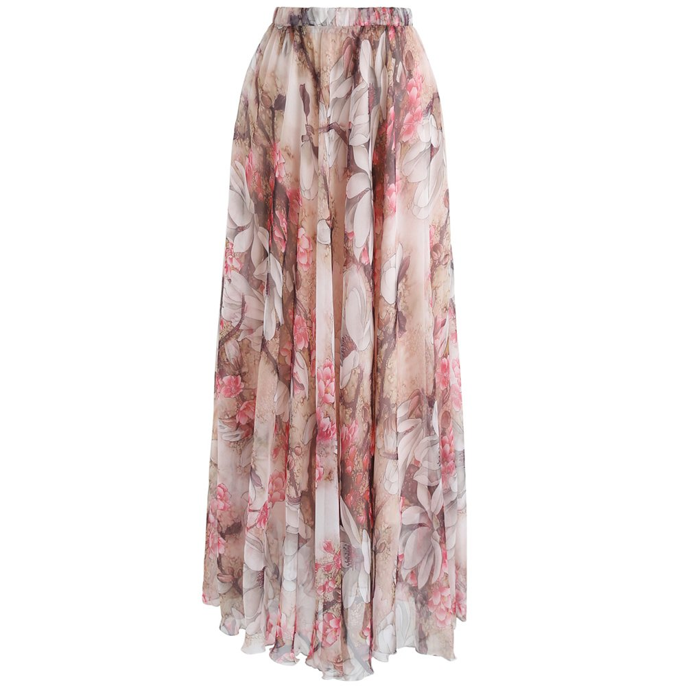 Chicwish Women's Pink Flower Watercolor Chiffon Maxi Slip Skirt by Chicwish