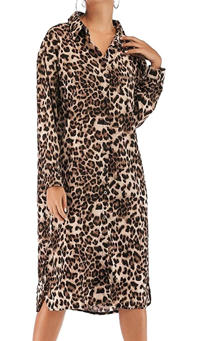 Generic Womens Leopard Print Relaxed Fit Slit Button Front Boyfriend Casual Dress