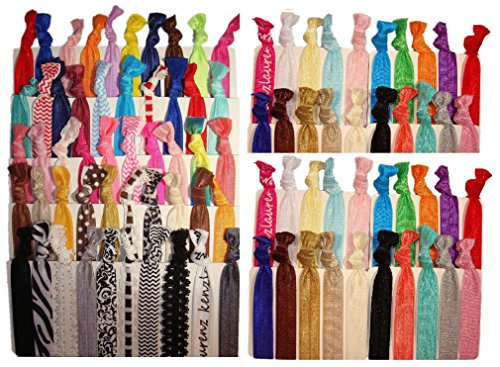 Kenz Laurenz 100 Hair Ties No Crease Ribbon Elastics Ouchless Ponytail Holders Hair Bands (100 Prints and Solids)