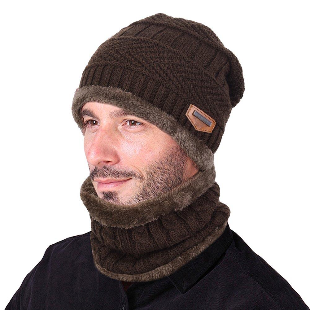 Vbiger Wintermütze Warm Beanie Strickmütze und Schal mit Fleecefutter (kaffeebrau)
