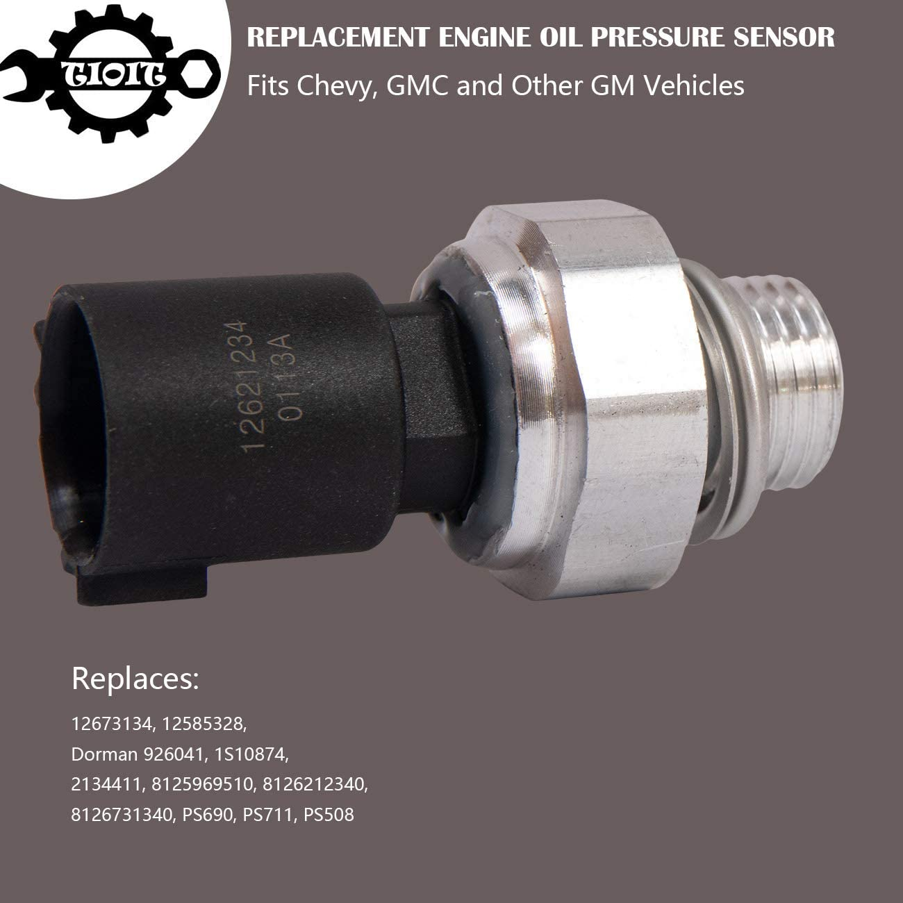Pontiac GMC Buick Rainier 12621234 Chevrolet Engine Oil Pressure Sensor Switch,Oil Pressure Sensor Replaces 12673134 Silverado Cadillac 213-4411,Fits for Chevy