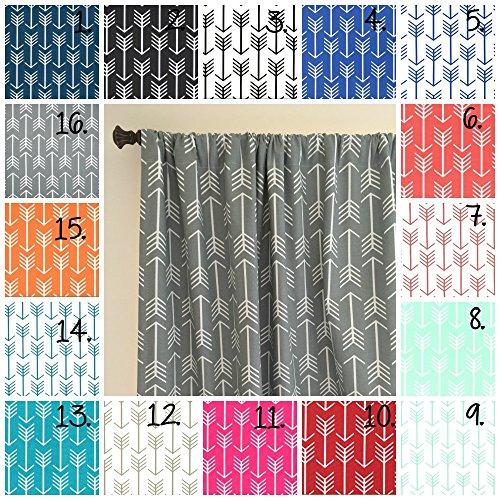 Arrow Curtain Panel Set Navy Arrow Curtains Coral Drapes Gray Arrow Curtain Panels Mint Arrow Curtains Nursery Curtains Set of 2 Choose Fabric and Size