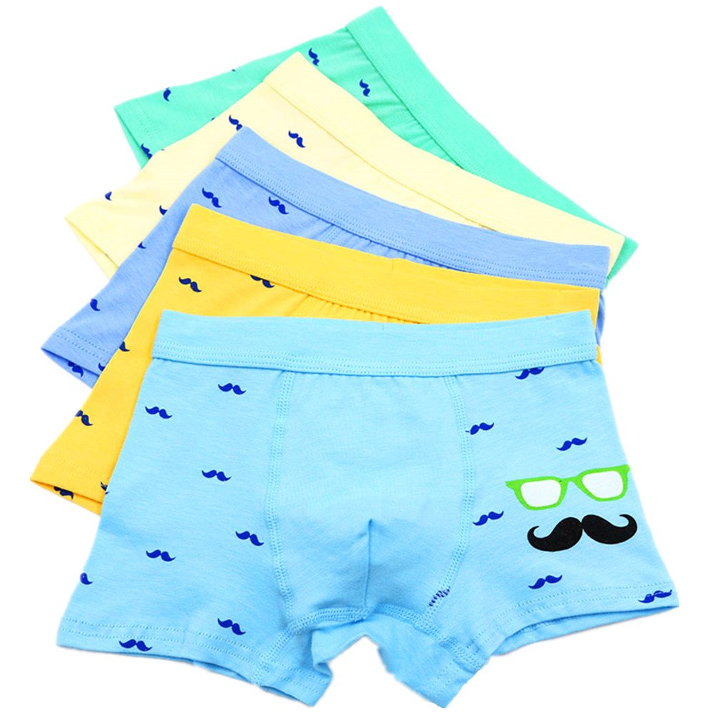 Boy's Boxer Briefs Beard Short Underwear Comfortable Boxers Pack of 5 Yzjcafriz