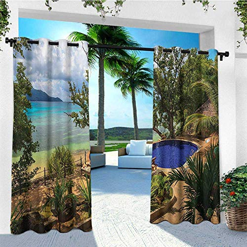 (leinuoyi Beach, Sun Zero Outdoor Curtains, Holiday in Seychelles Theme Exotic Beach Pool Summer Vacation Greenery, Outdoor Privacy Porch Curtains W96 x L96 Inch Green Blue Pale Brown)