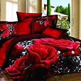 Alicemall 3D Flower Bedding Set Big Red Rose Black Prints 4 Pieces Duvet Cover Sets, 100% Cotton Wedding Bedroom Sheets Set Quilt Cover Set, Queen Size Bed Set, NO COMFORTERS (Queen)