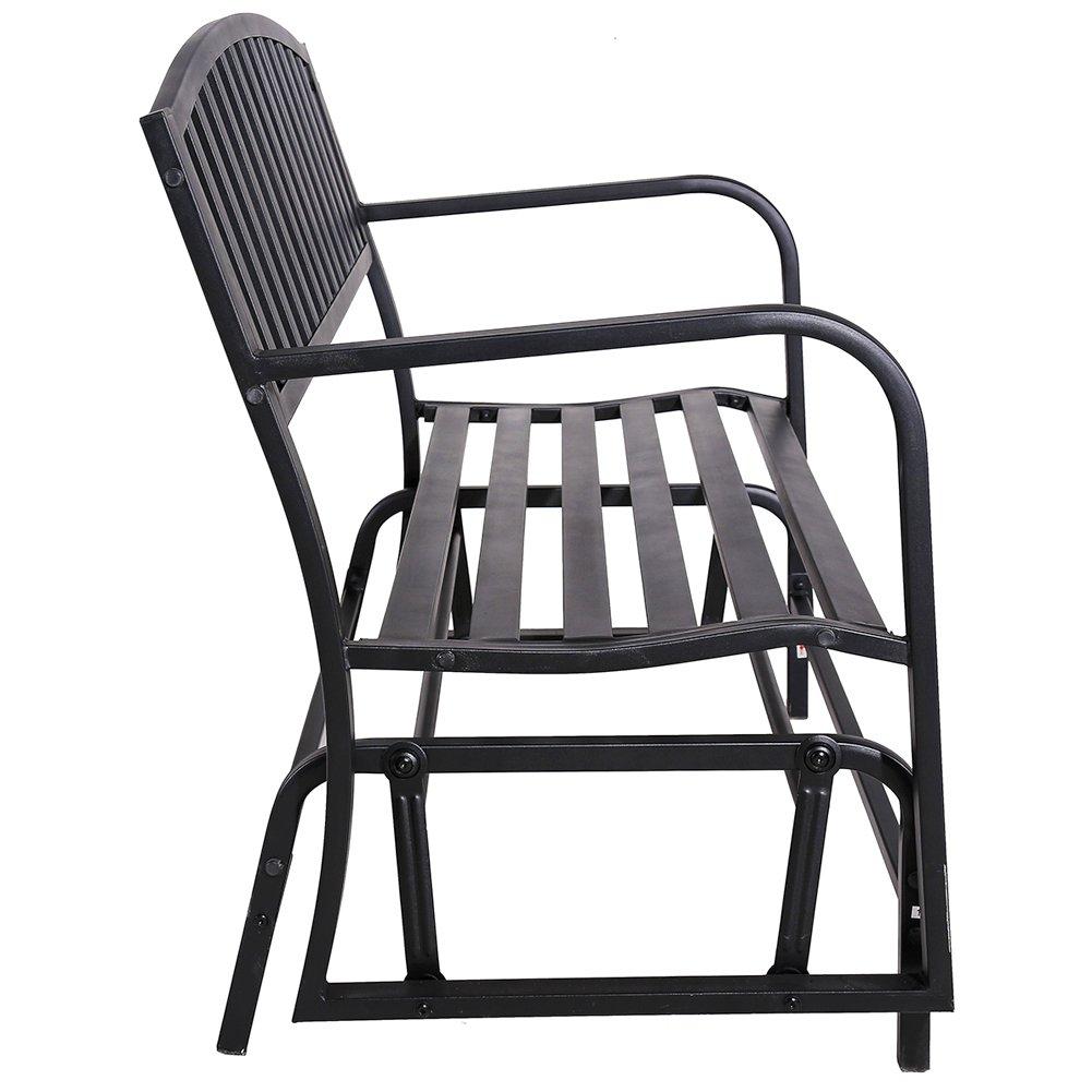 SUPERJARE Outdoor Patio Glider Chair, Swing Bench for 2 person, Garden Rocking Loveseat, Black