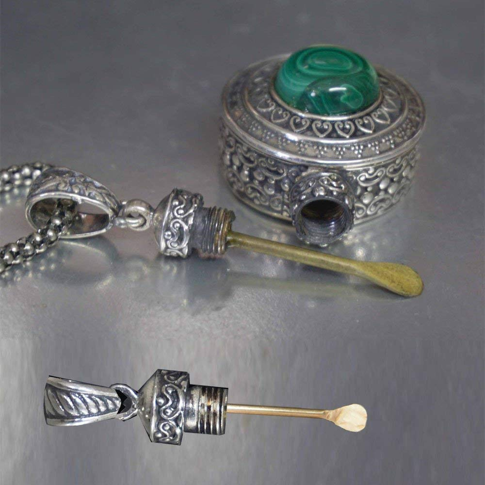 Nasal Infection Medicament Snuff Bottle Pendant Necklace with Mini Spoon hidden inside! Sterling Silver & Malachite Gemstone