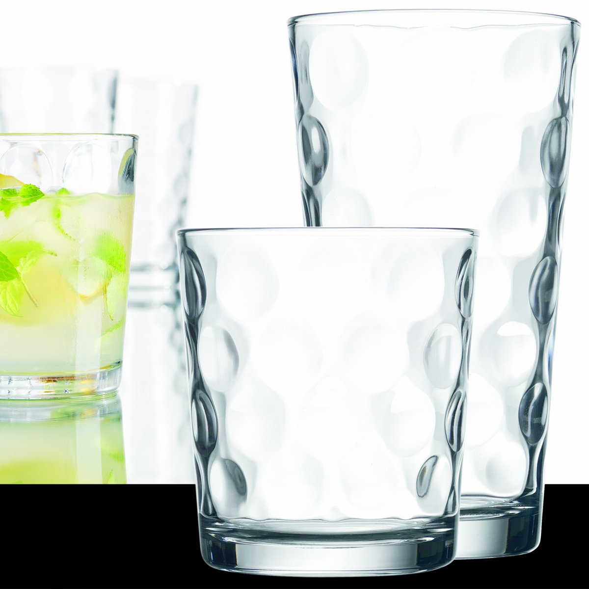 16-piece Elegant Eclipse Glassware Set - 8 Cooler Glasses and 8 DOF Glasses, Drinking Glasses Set of 16