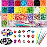 Rainbow Loom Bands Crafting Kit Rubber Band Bracelet Kit for Kids 5000 Rubber Loom Bands with Charms,Beads,Hooks,Clips (22 Rainbow Colors) (Size 1)