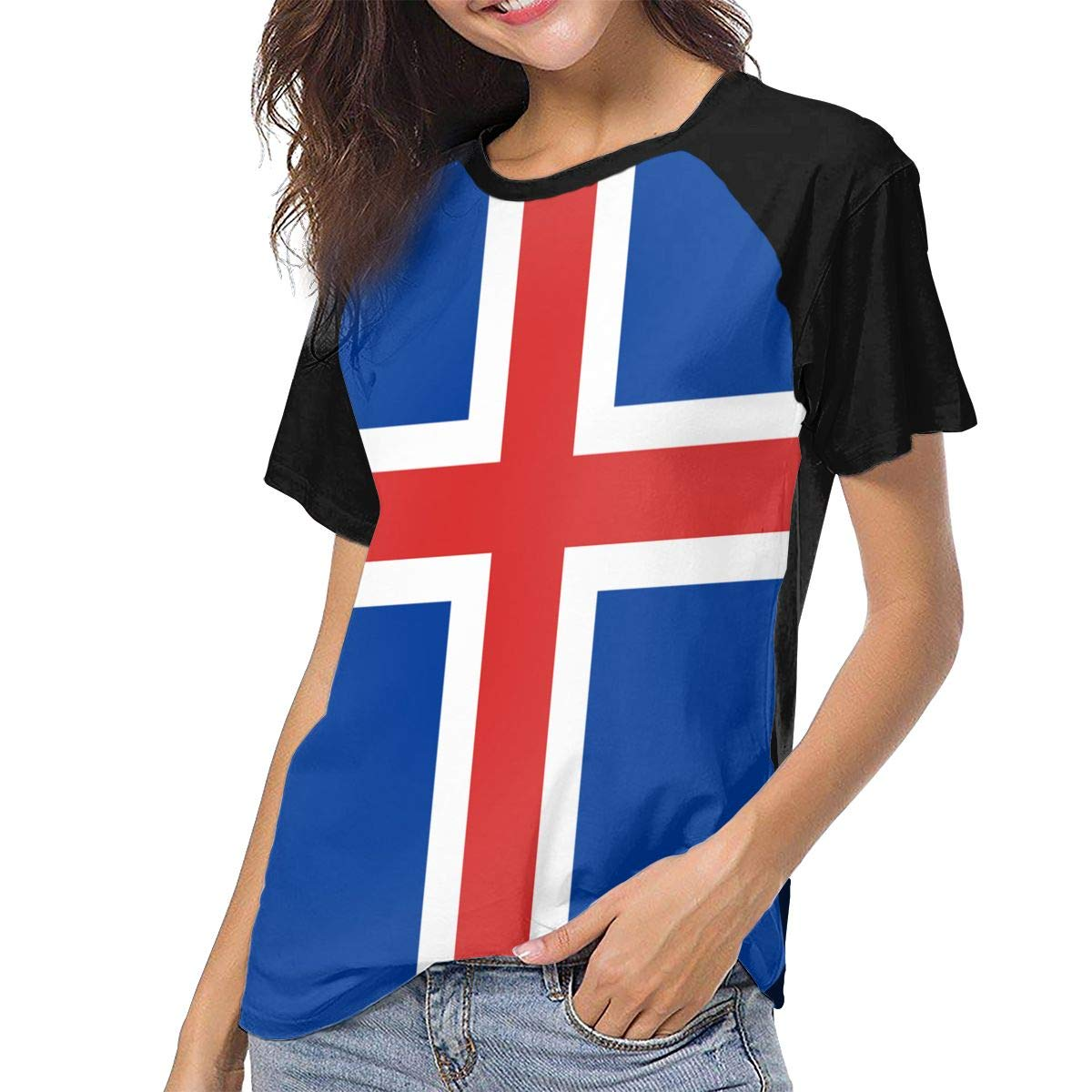 IRON1974 Womens The Icelandic Flag Short Sleeve T-Shirt Baseball Tees