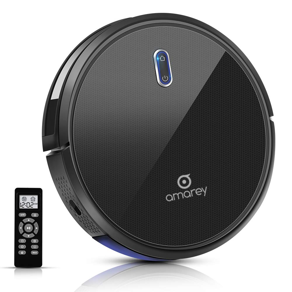 Robot Vacuum - 100mins Long Lasting, Timing Function, Super Strong Suction Robot Vacuum Cleaner, Self-Charging, 2.7inch Super Thin, 4 Cleaning Modes, Robotic Vacuums for Pet Hair, Hard Floor, Carpet by amarey