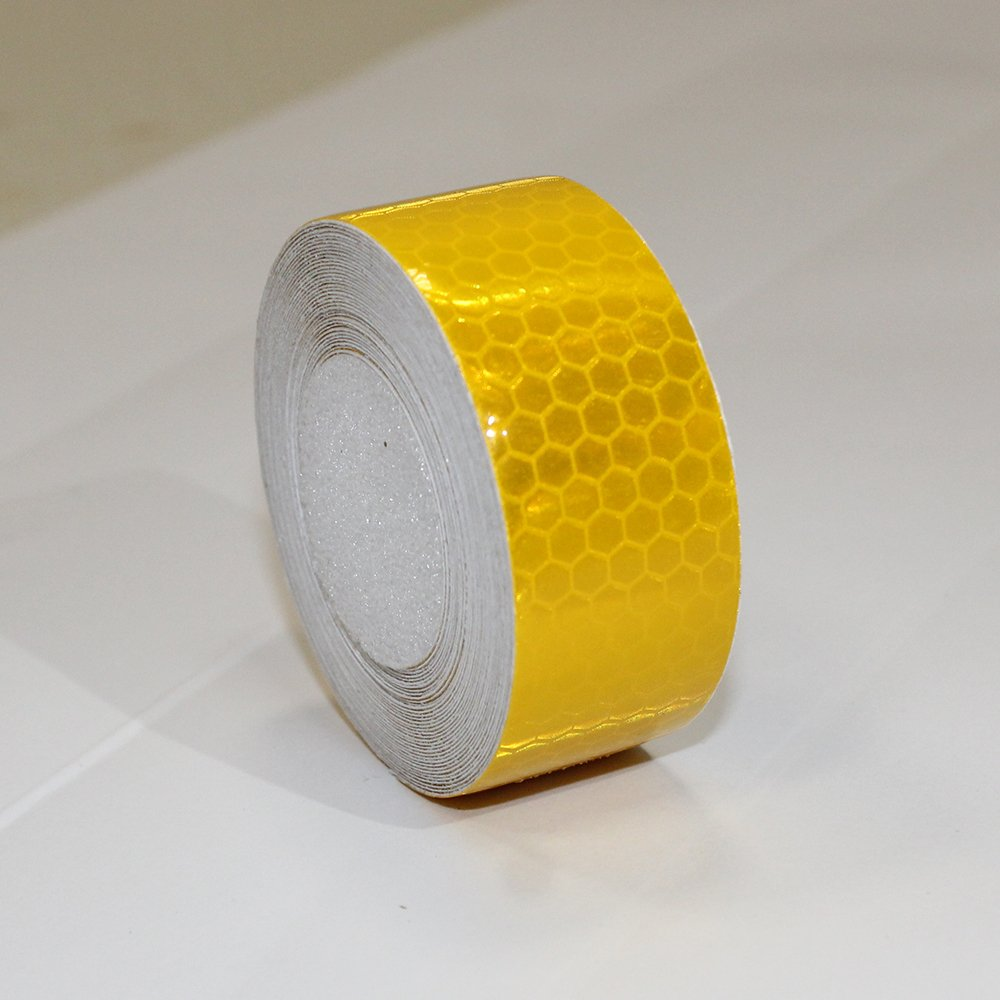1/″X8.2/′ Yellow Reflective Tape For Trucks Trailers Car Park Traffic Warning Caution Conspicuity Tape Waterproof Self-Adhesive Reflector Tape-Reflective Tape