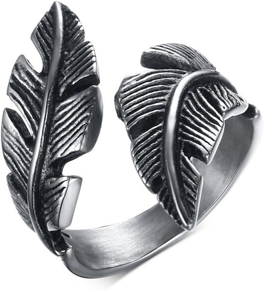 Gudeke Anillo de acero inoxidable para hombre para mujer, pluma de la vendimia, plata Negro