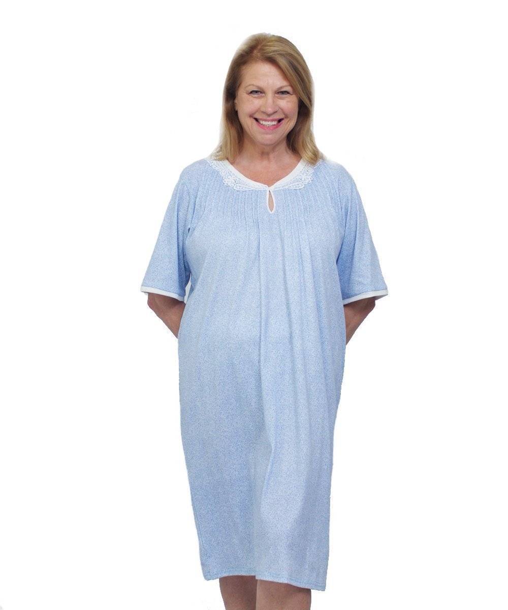 Amazon.com: Womens Adaptive Hospital Gowns - Open Back Nightgown ...