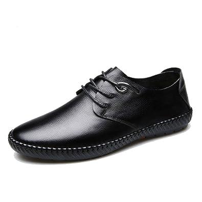 LEDLFIE Chaussures en Cuir pour Hommes,Black-39