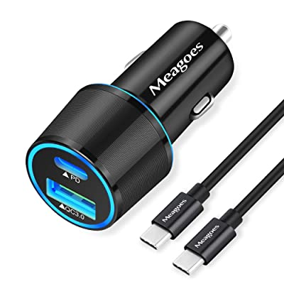 Meagoes USB C Car Charger, 36W Fast Charging Adapter with PD&QC3.0 Compatible for Samsung Galaxy S20 Ultra/Plus/S10/S10e/S9/Note 10, Google Pixel, iPad Pro, iPhone 11 Moto LG - 3.3ft Rapid Type C Cord