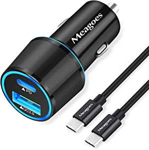 Meagoes USB C Car Charger, 36W 2-Port Fast Charging Adapter with PD&QC3.0 Compatible for Samsung Galaxy S20 Plus/Ultra/S20/S10/S9/Note 20/10, iPad Pro, Google Pixel, iPhone 11/Pro/Max -3ft Type C Cord