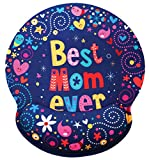 Best Mom Ever Ergonomic Design Mouse Pad with Wrist Rest Hand Support. Round Large Mousing Area. Matching Microfiber Cleaning Cloth for Glasses & Screens. Great for Gaming & Work