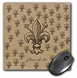 "3D Rose ""Brown Fleur De Lis French Vintage Art"" Matte Finish Mouse Pad - 8 x 8"" - mp_110397_1"