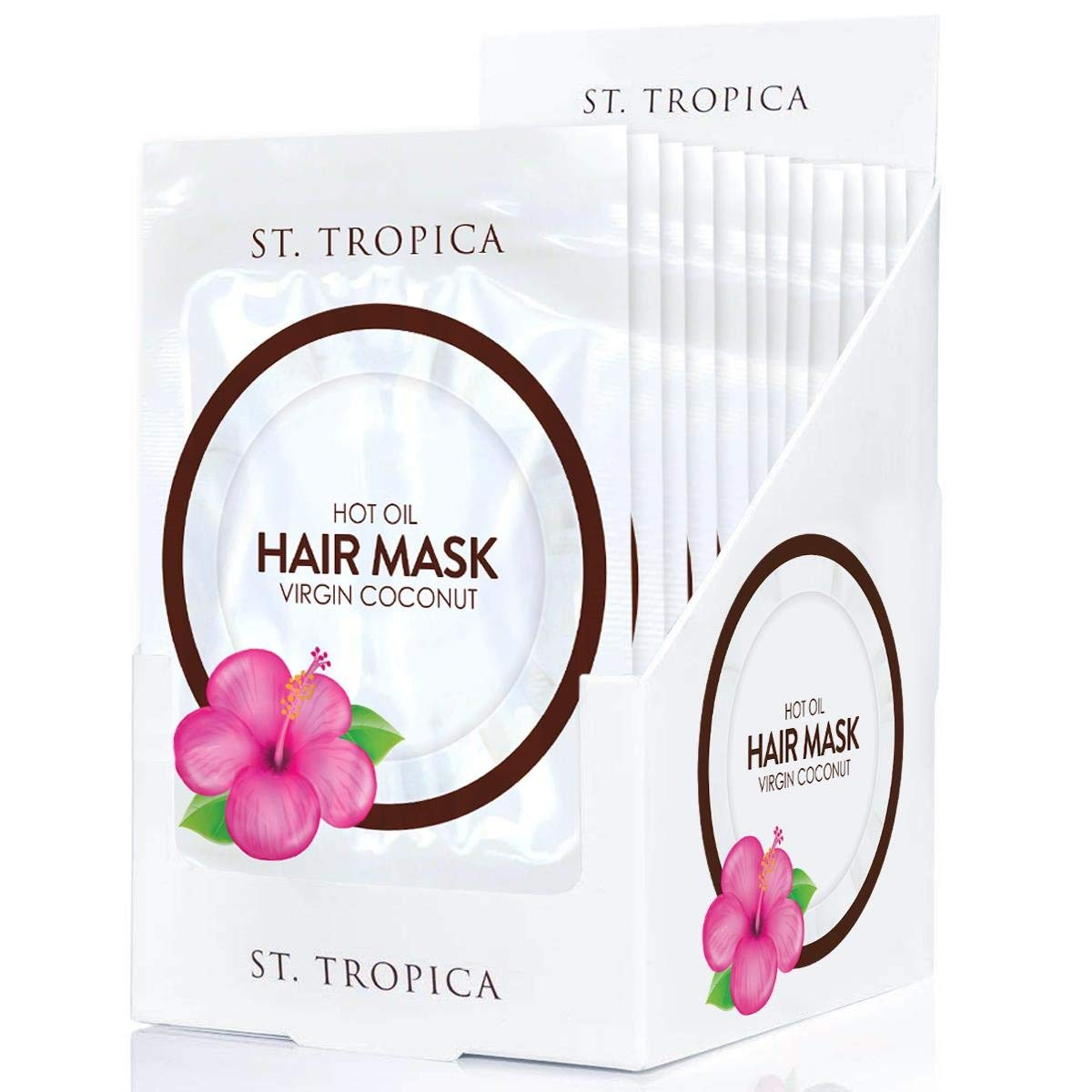 ST. TROPICA Coconut Oil Hair Mask (12 Hair Masks) #1 Ranked on Skin Deep, Restorative Hair Mask, Deep Conditioner Repair for Dry, Damaged Hair, Natural Hair Care Treatment + Deep Shine