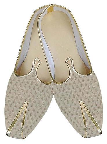 Mens Beige Brocade Royal Indian Shoes MJ0032