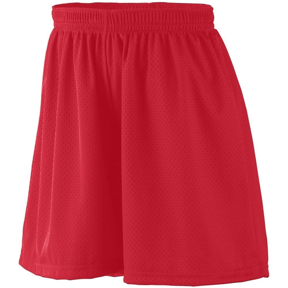 858 AG LAD TRICOT LINED MESH SHORT RED L