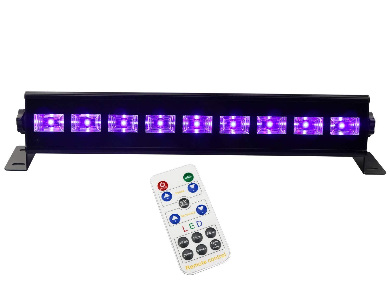 UV Blacklight for Party, Latta Alvor Stage Lights LED Bar Par DJ Lights UV Strobe Lights DMX512 and Sound Activated With Remote Control Disco Strobe Lights UV Party Black Lights (6 led 18W)