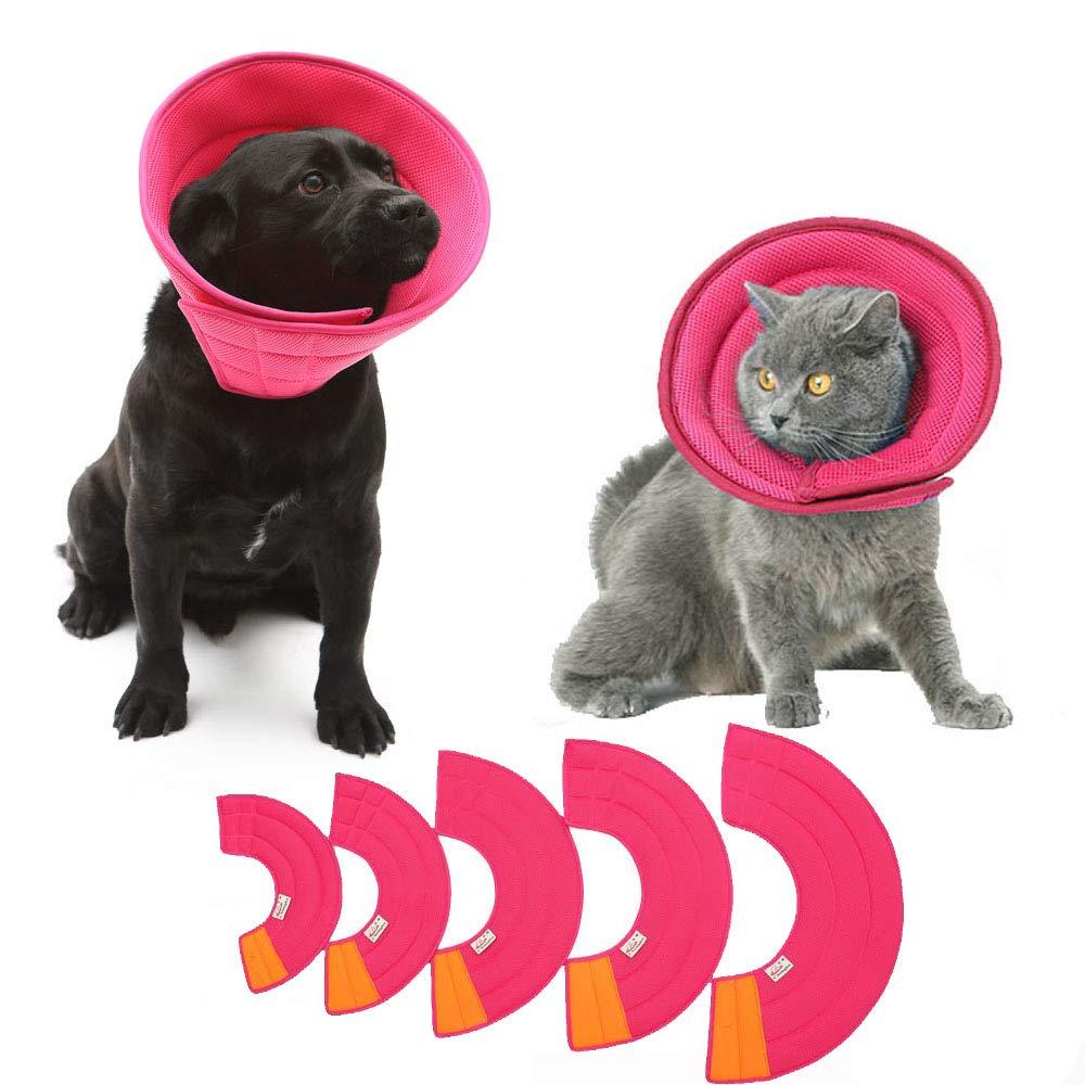 KnocKconK Pink Breathable Small Medium Dog Cone, Cat Soft Comfortable Adjustable Mesh E-Collar, Easy Drink Eat Sleep Pet Recovery Elizabethan Collar, Soft Edges,Anti-Bite/Lick for Cat, Dog, Rabbit by KnocKconK