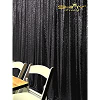 Sequin Curtain Backdrop 8FTx8FT-Black-Wedding Backdrop Photo Booth Background