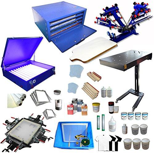 4 Color Screen Printing Kit Silk Screen Printing Machine Screen Printing Press 4 Color 1 Station by Screen Printing Kits
