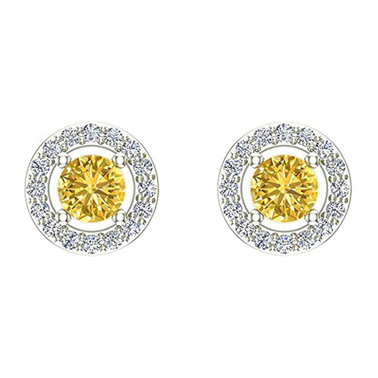 Girls Jewelry 14K White Gold Plated Simulated Diamond /& Yellow Sapphire Studded Screwback Round Frame Stud Earrings For Women