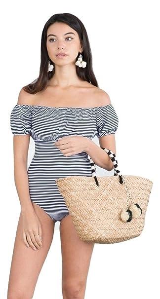 a48941aec9b Celina 1 PC. Ladies Navy White Stripes Off The Shoulder Bardot One Piece  Swimsuit -