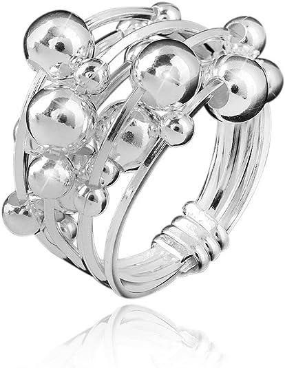 MATERIA Schmuck 925 Silber Ring Kugel 8,1g Damen Ring breit bewegliche Kugeln Größe: 16 20 mm #SR 34