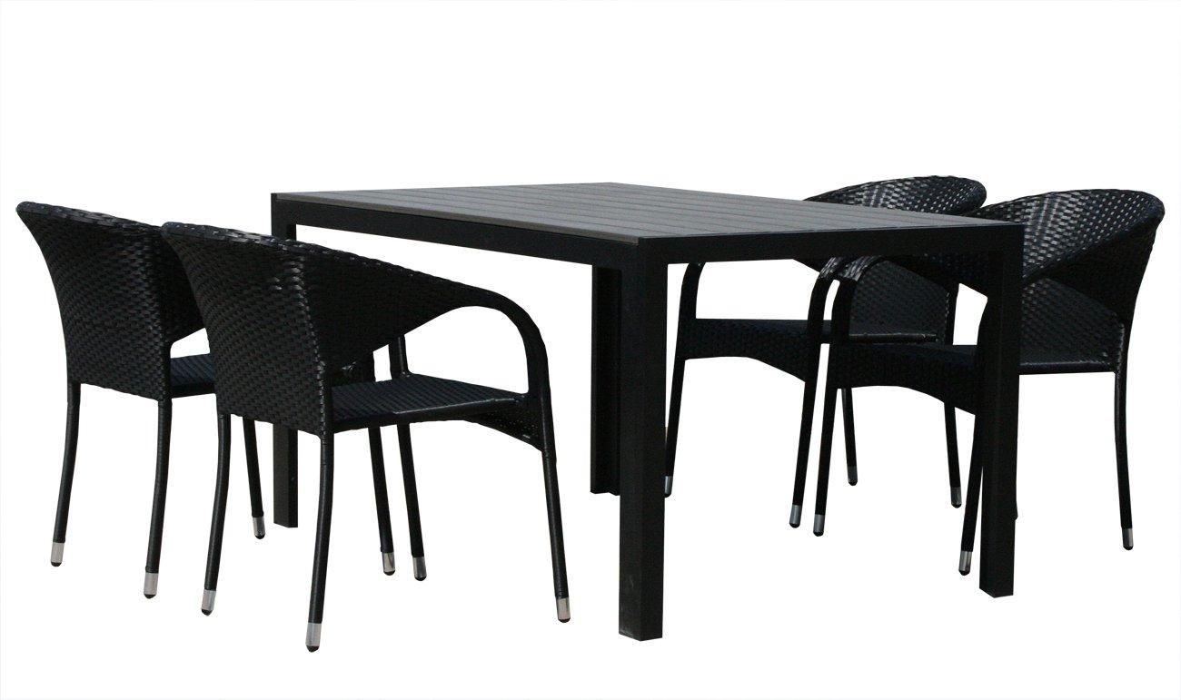 KMH®, Gartensitzgruppe aus Polyrattan (1 Tisch (150 cm) und 4 Gartenstühle) (#106205)