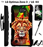 For LG Optimus Zone 3 Phone Case (Verizon) Armor Hybrid Rugged Silicone Cover Kick Stand LuxGuard Holster+LCD Screen Protector+Stylus (Lion/Black)