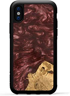 product image for Carved - Wood+Resin Case for iPhone Xs/iPhone X - One-of-A-Kind, Protective Traveler Bumper Cover (ID: 090617, Dark Red)