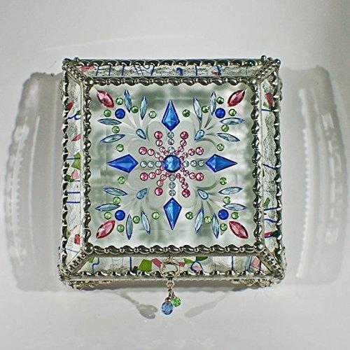 Jewel Encrusted 5X5 SILVER Glass Treasure Jewelry Box Swarovski Crystals USA made by Glass Treasure Box