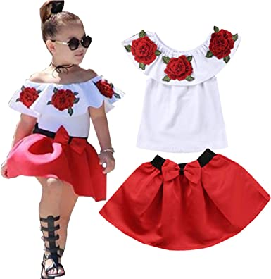 2PCS Toddler Baby Girls Stripe Sleeveless Tops Red Shorts Outfits Cute Bowknot Ruffle Short Sleeve One Set