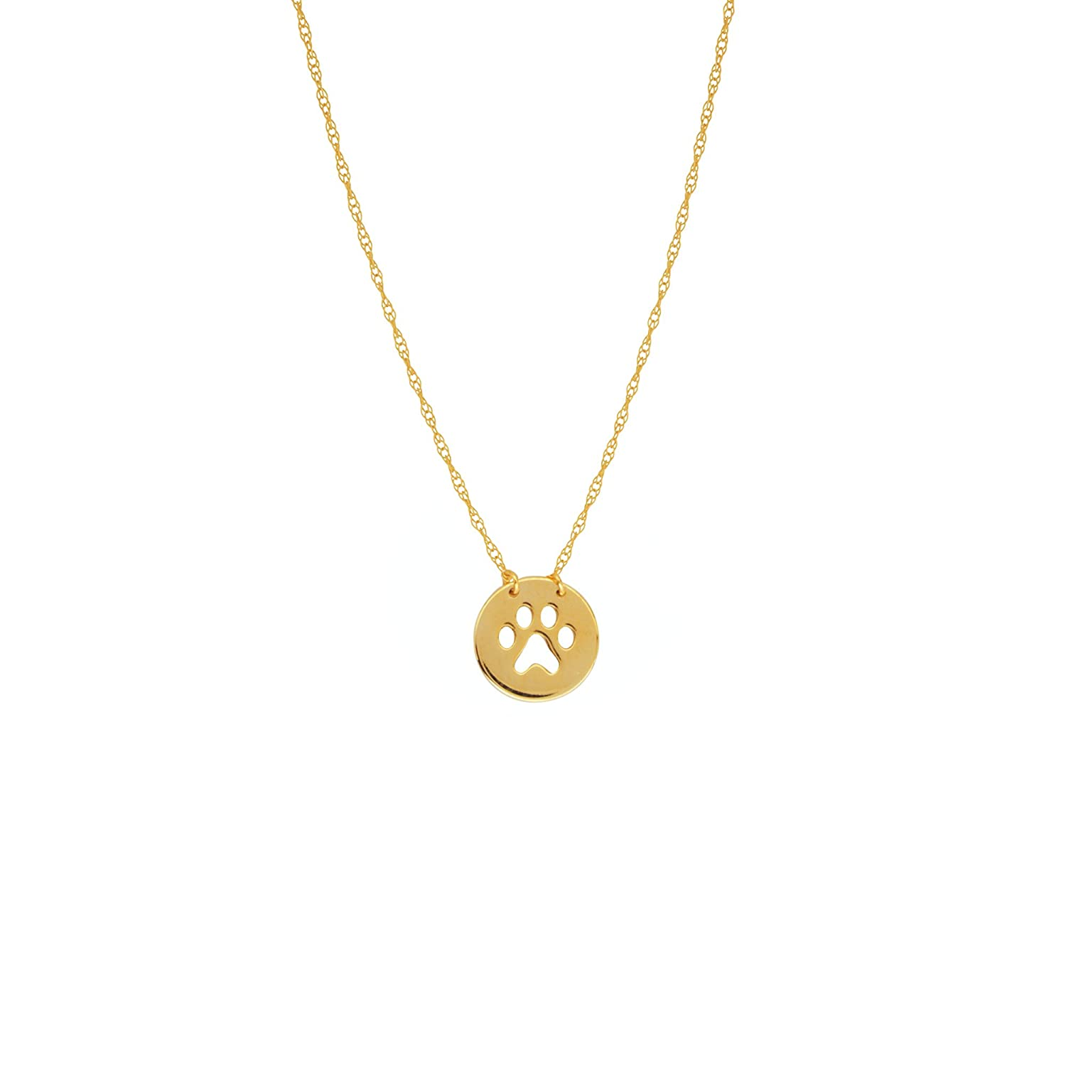 PAW PENDANT,14KT GOLD PAW NECKLACE 18 INCHES
