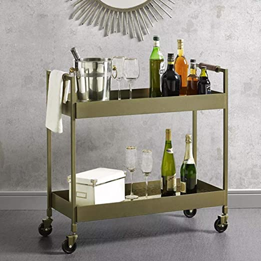 Bar Cart, Brass Finish, Glass Shelves, Easy to Move with 4 ...