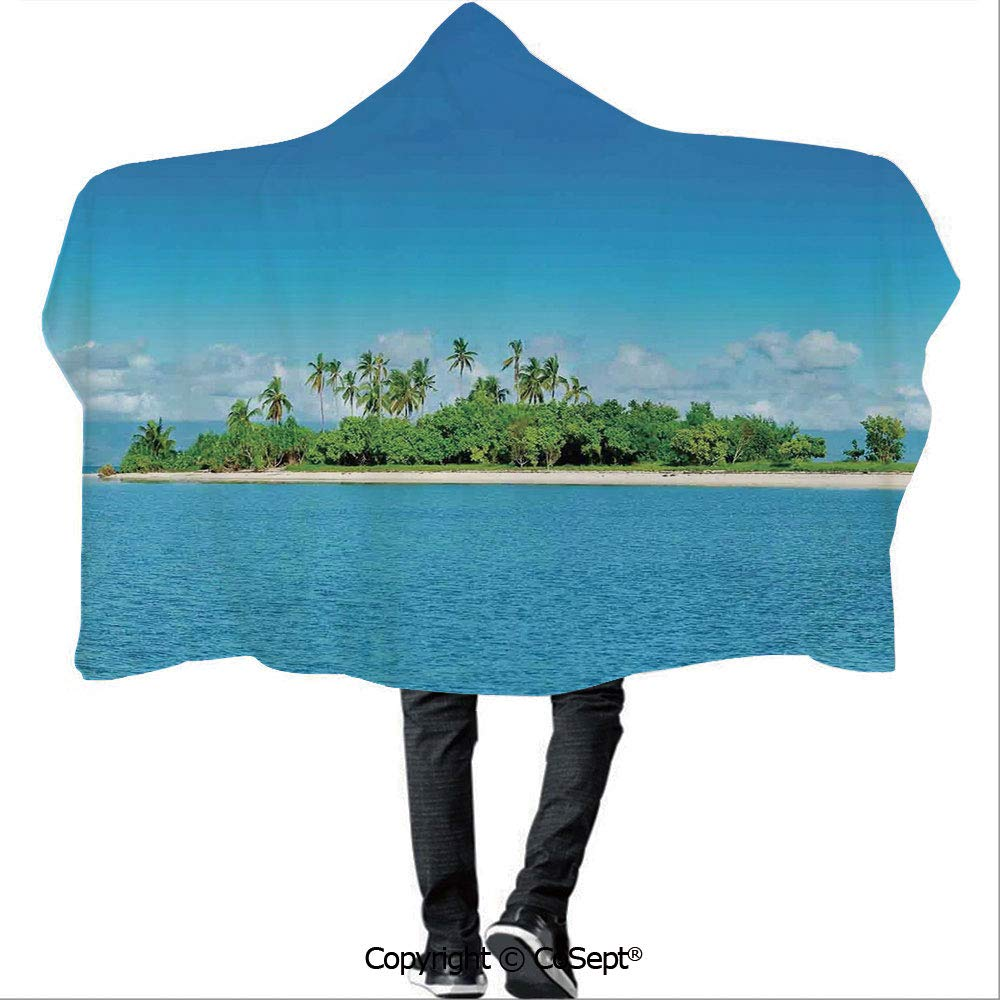 AmaUncle Polyester Hooded Blankets,Uninhabited Island at Philippines Beach Palm Trees Forest Tropical Vacation Picture,for Adults and Children(59.05x78.74 inch),Blue Green