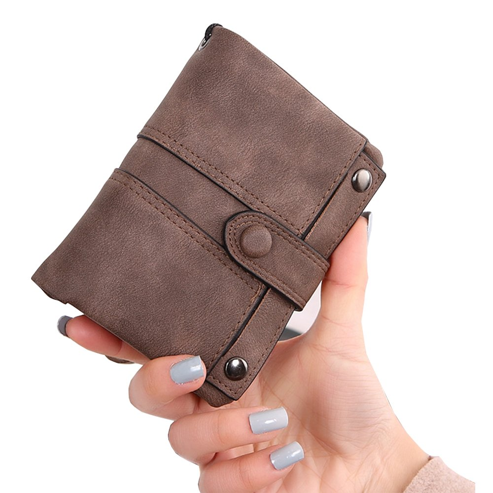 HILINKER Womens RFID Blocking Soft Leather Short Wallet Card Holder Change Cash Organized Large Capacity Zipper Buckle Travel Coin Purse with Detachable Wrist Strap (Brown #2)