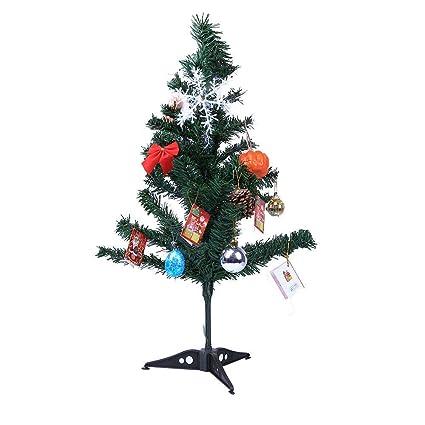Qiusa Decoración de árboles de Navidad, Mini Adorno de sobremesa Decoración con LED Decoración de